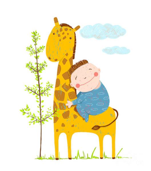 Friends Wall Art - Digital Art - Little Boy Hugging A Giraffe. Happy by Popmarleo