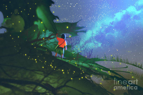 Wall Art - Digital Art - Little Boy Standing On Giant Leaves by Tithi Luadthong