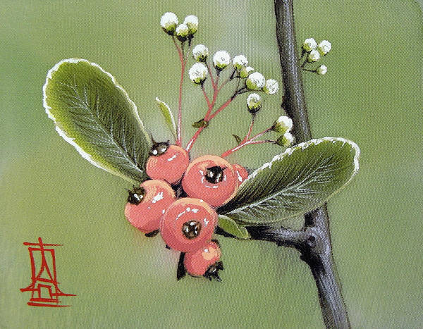 Painting - Little Branch With Berries by Alina Oseeva