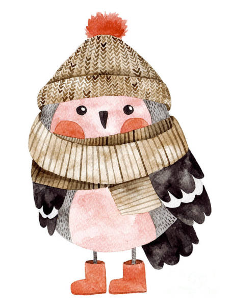 Pastel Colors Digital Art - Little Cute Bullfinch With Winter Hat by Maria Sem