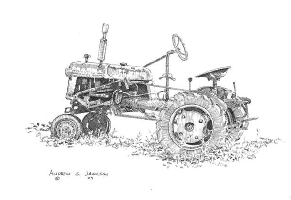 Andrew Jackson Wall Art - Drawing - Little Farm Tractor II by Andrew Jackson