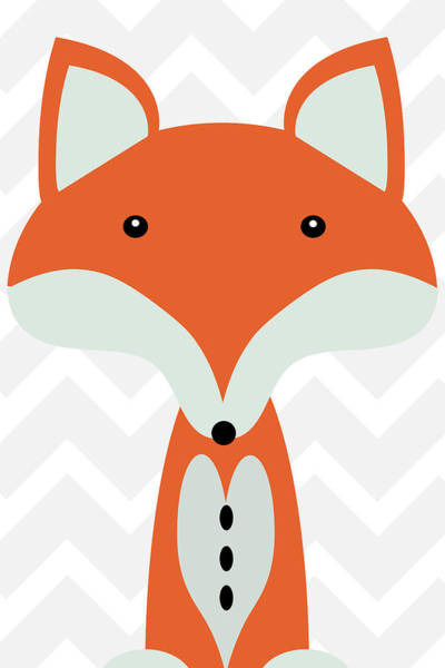 Front Room Digital Art - Little Fox Nursery Art by Mihaela Pater