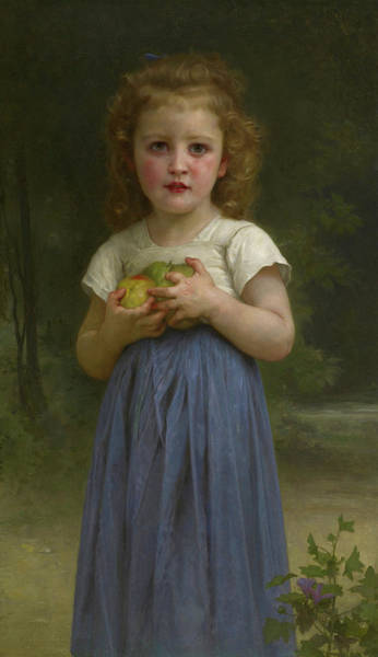 Wall Art - Painting - Little Girl Holding Apples In Her Hands, 1895 by William-Adolphe Bouguereau