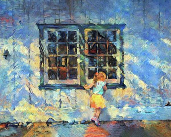 Photograph - Little Girl Peeking In The Window by Bill Cannon