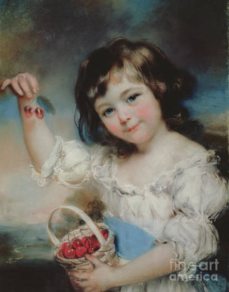 Rosy Wall Art - Pastel - Little Girl With Cherries by John Russell