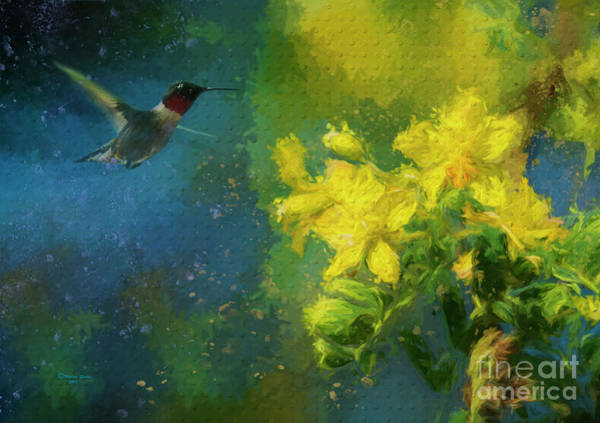 Bright Colorful Mixed Media - Little Hummer by Marvin Spates
