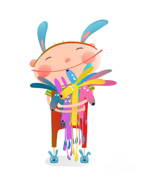 Wall Art - Digital Art - Little Kid Hugging Rabbits Funny Cute by Popmarleo