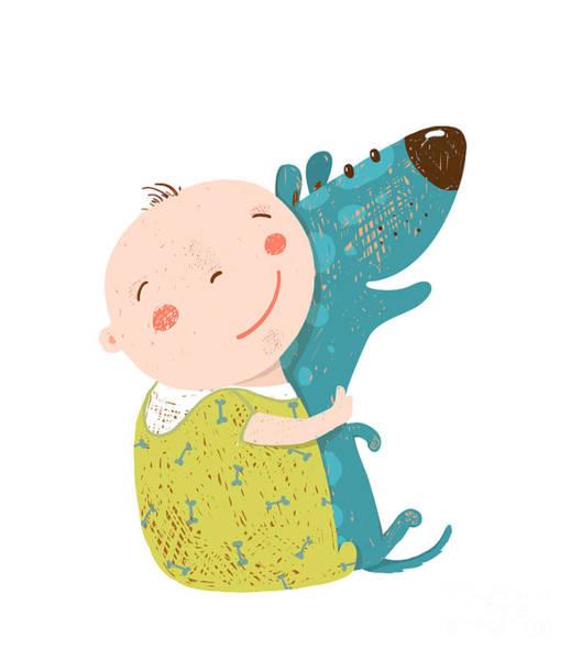 Wall Art - Digital Art - Little Kid Hugs Dog Best Happy Friends by Popmarleo