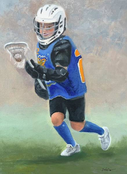 Lax Painting - Little Lacrosse Player by Dorothy Nalls