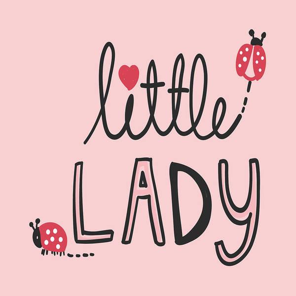 Drawing - Little Lady - Baby Room Nursery Art Poster Print by Dadada Shop