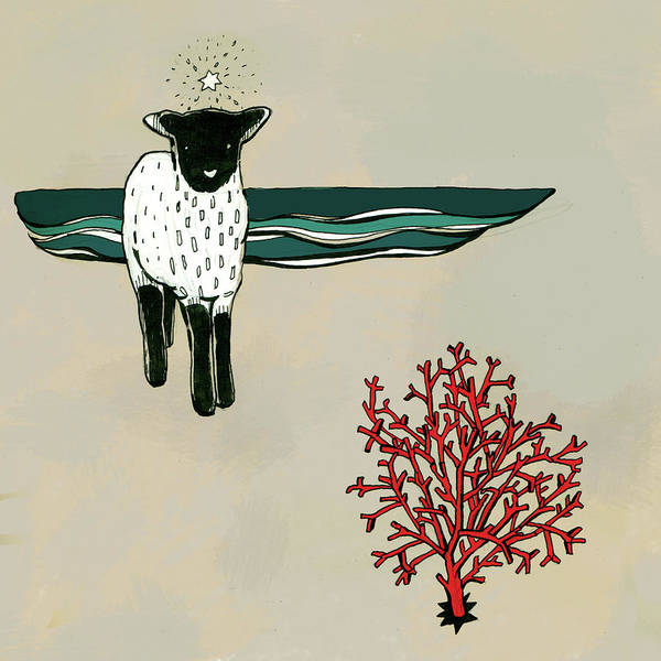 Domestic Digital Art - Little Lamb And Red Coral by Lucia Lukacova