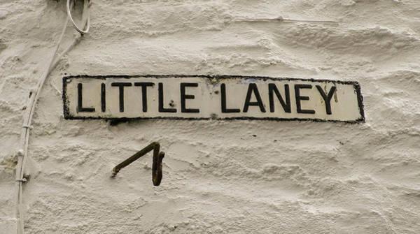 Wall Art - Photograph - Little Laney Sign Polperro Cornwall by Richard Brookes