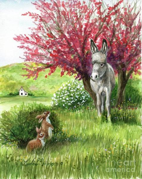 Painting - Little Long Ears/ Rabbits And Donkey by Linda L Martin