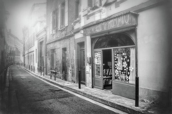Storefront Photograph - Little Music Shop Toulouse France Black And White  by Carol Japp