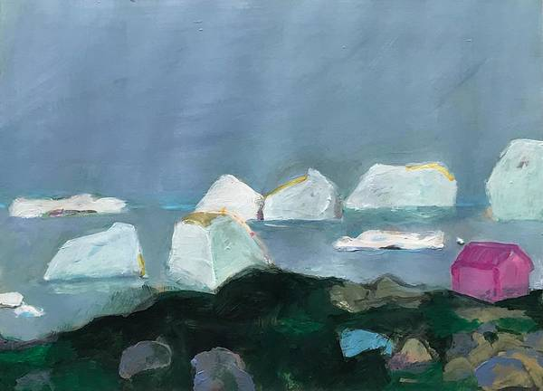 Wall Art - Painting - Little Pink House And Icebergs Nr.4 by Gerrit Oppelland-Hampel