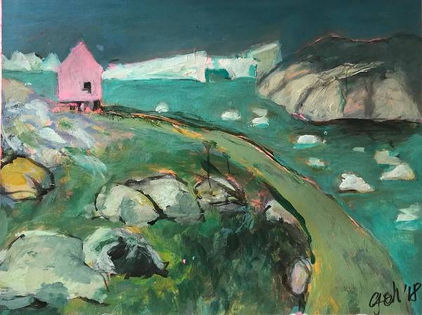 Wall Art - Painting - Little Pink House On Greenland 3 by Gerrit Oppelland-Hampel