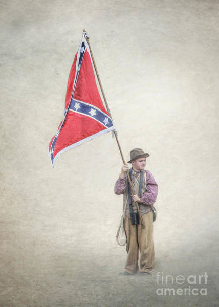 Wall Art - Digital Art - Little Reb With Flag by Randy Steele