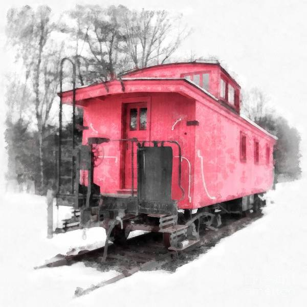Railroad Car Photograph - Little Red Caboose Watercolor by Edward Fielding
