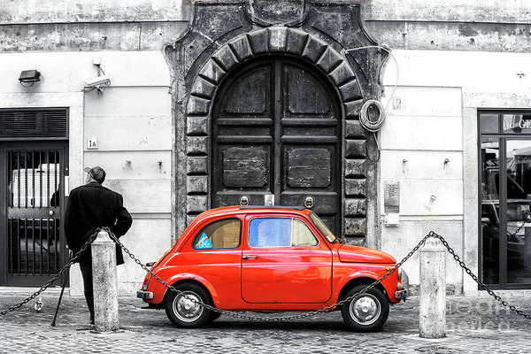 Photograph - Little Red Fiat In Rome Fusion by John Rizzuto