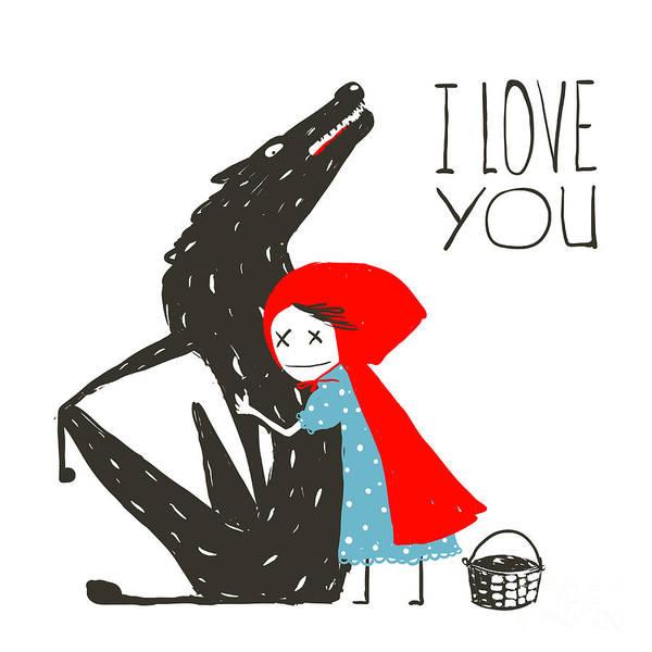 Draw Wall Art - Digital Art - Little Red Riding Hood Loves Black by Popmarleo