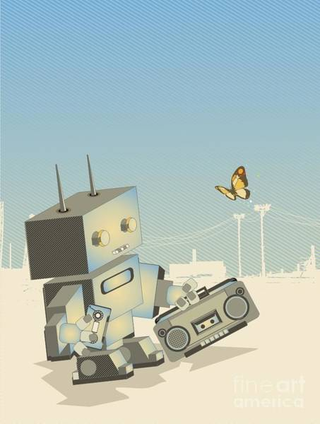 Wall Art - Digital Art - Little Retro Robot With A by Gudron