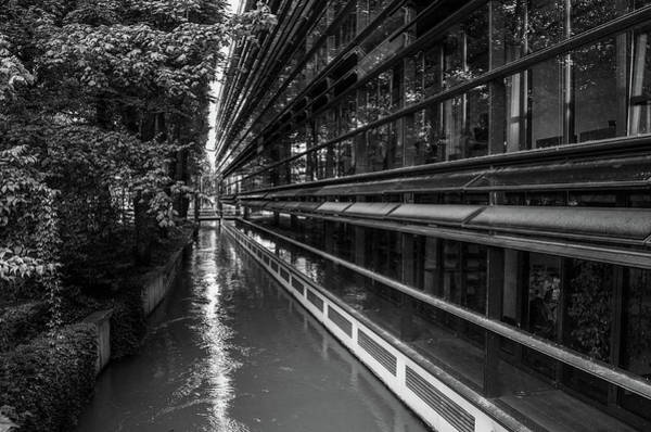 Art Print featuring the photograph Little River, Big Building by Borja Robles