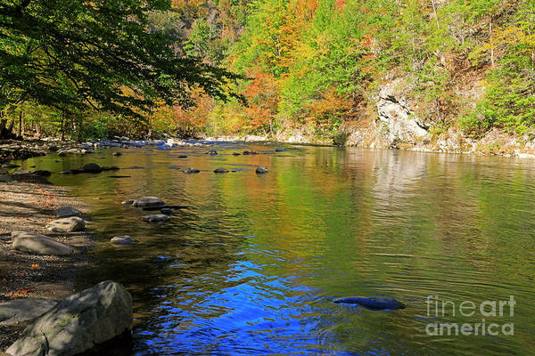 Wall Art - Photograph - Little River In Autumn In Smoky Mountains National Park by Louise Heusinkveld