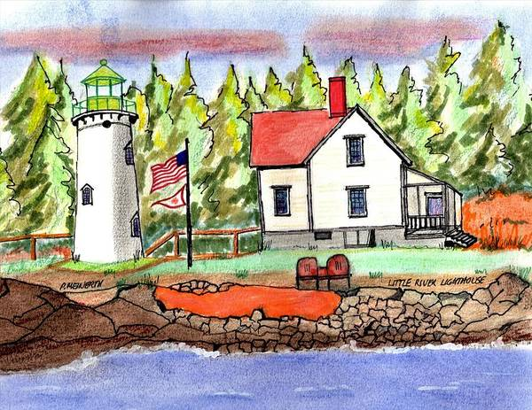 Wall Art - Drawing - Little River Lighthouse by Paul Meinerth