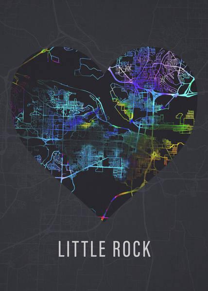 Wall Art - Mixed Media - Little Rock Arkansas City Heart Street Map Dark by Design Turnpike
