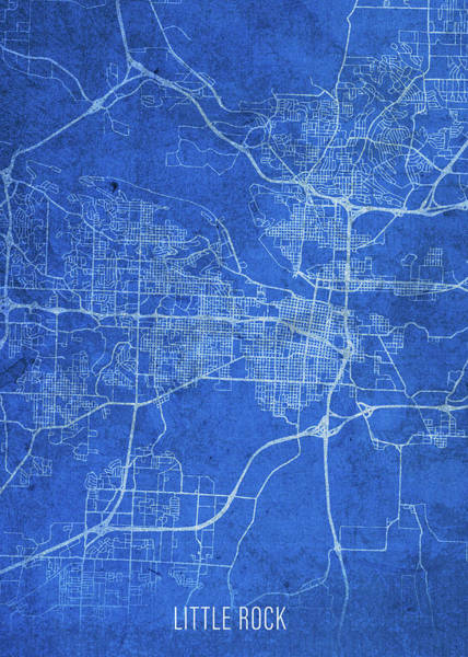 Wall Art - Mixed Media - Little Rock Arkansas City Street Map Blueprints by Design Turnpike