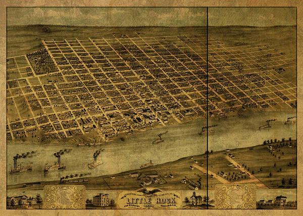 Arkansas Mixed Media - Little Rock Arkansas Vintage City Street Map 1871 by Design Turnpike