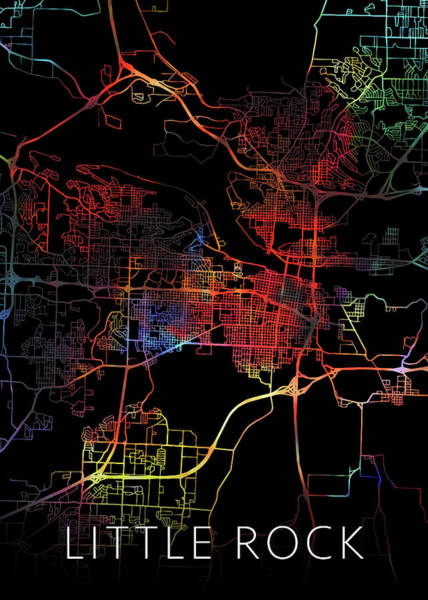 Arkansas Mixed Media - Little Rock Arkansas Watercolor City Street Map Dark Mode by Design Turnpike