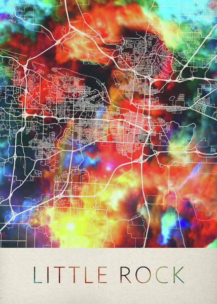 Arkansas Mixed Media - Little Rock Arkansas Watercolor City Street Map by Design Turnpike