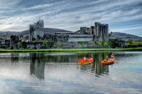 Photograph - Little Rowers At Caerphilly Castle 2 by Steve Purnell