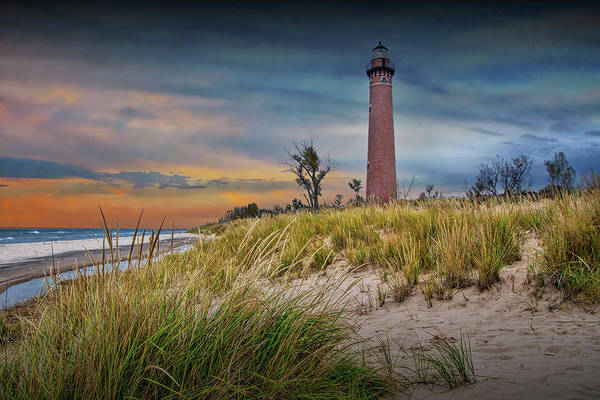 Photograph - Little Sable Lighthouse At Sunset On Lake Michigan By Silver Lake by Randall Nyhof