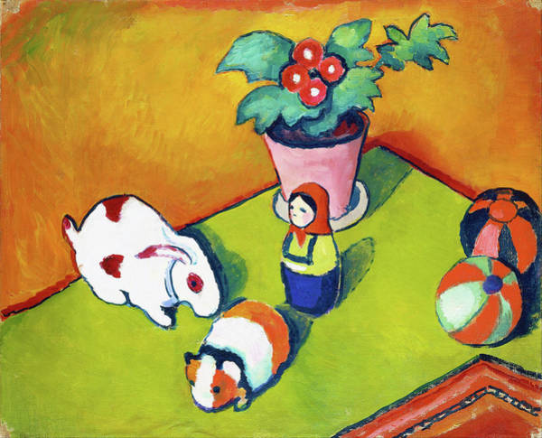 Wall Art - Painting - Little Walter's Toys - Digital Remastered Edition by August Macke