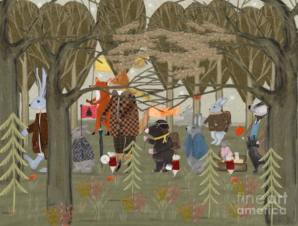 Wall Art - Painting - Little Woodland Parade by Bri Buckley