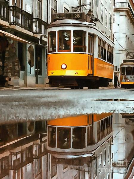 Wall Art - Digital Art - Little Yellow Trolley by Edward Fielding