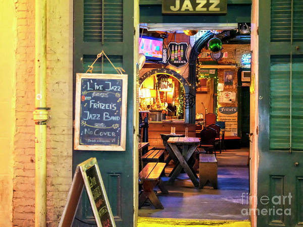 Photograph - Live Jazz At Fritzel's New Orleans At Night by John Rizzuto