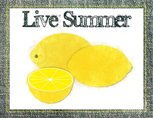 Photograph - Live Summer - Lemons Watercolor by Colleen Cornelius