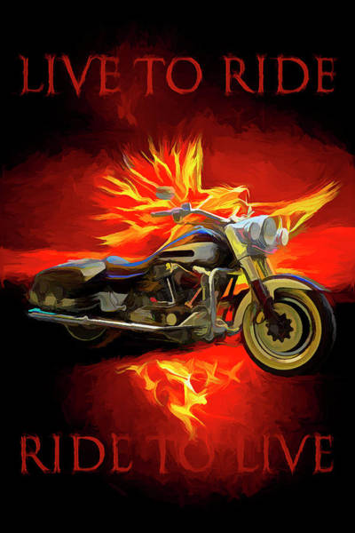 Silver And Gold Digital Art - Live To Ride, Ride To Live Abstract by Debra and Dave Vanderlaan