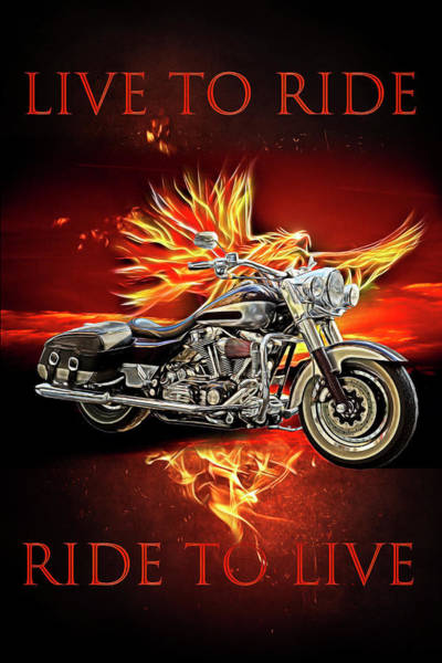 Digital Art - Live To Ride, Ride To Live In Shiny Chrome by Debra and Dave Vanderlaan
