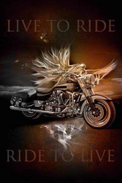Silver And Gold Digital Art - Live To Ride, Ride To Live In Vintage Tones by Debra and Dave Vanderlaan