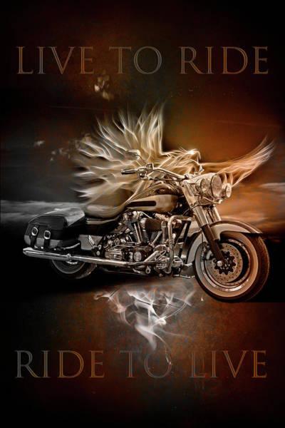 Digital Art - Live To Ride, Ride To Live In Vintage Tones by Debra and Dave Vanderlaan