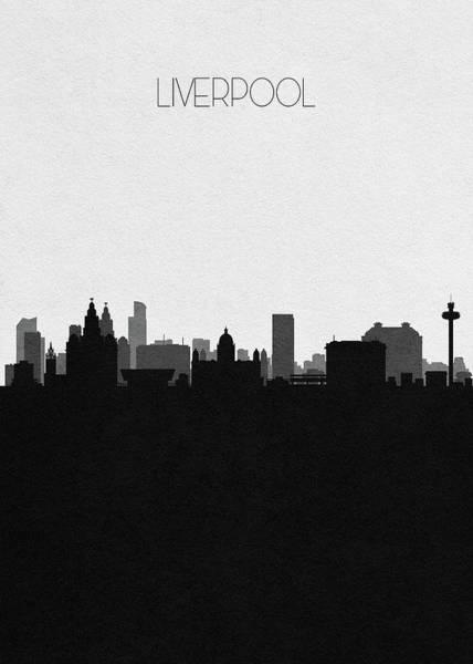 Souvenir Digital Art - Liverpool Cityscape Art by Inspirowl Design