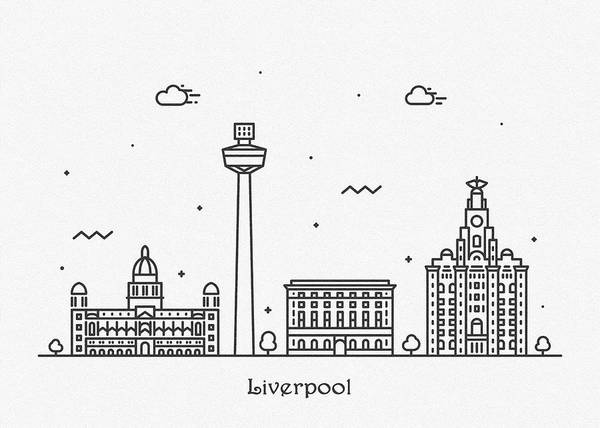 Wall Art - Drawing - Liverpool Cityscape Travel Poster by Inspirowl Design