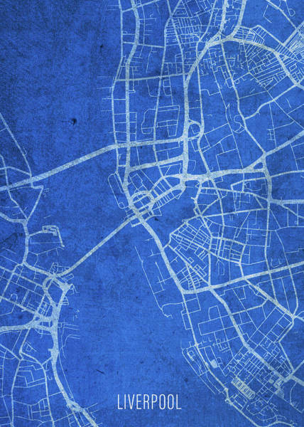 Wall Art - Mixed Media - Liverpool England City Street Map Blueprints by Design Turnpike