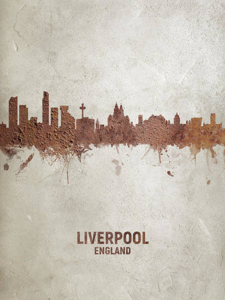 Wall Art - Digital Art - Liverpool England Rust Skyline by Michael Tompsett