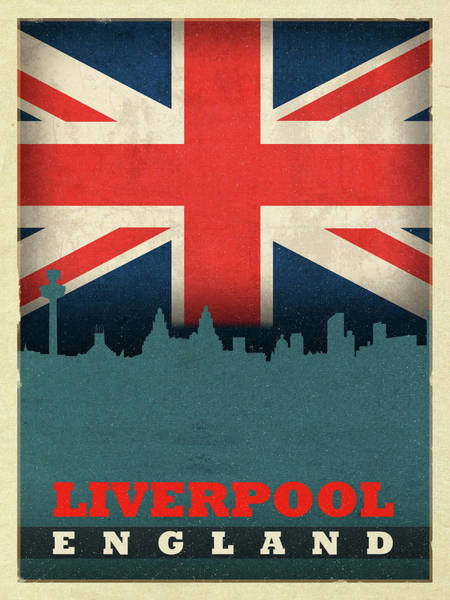 Wall Art - Mixed Media - Liverpool England World City Flag Skyline by Design Turnpike