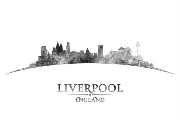 Liverpool Skyline Digital Art - Liverpool In Black And White by Tim Palmer